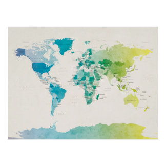 Watercolour Political Map of the World Posters
