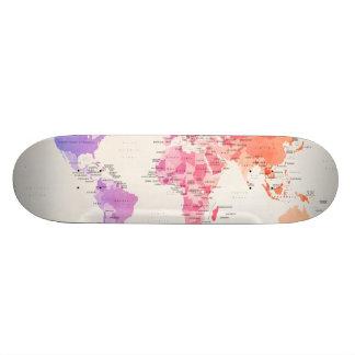 Watercolour Political Map of the World Custom Skateboard