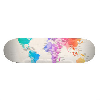 Watercolour Political Map of the World Skateboard Deck