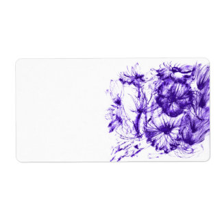 Watercolour Purple Flowers Shipping Label