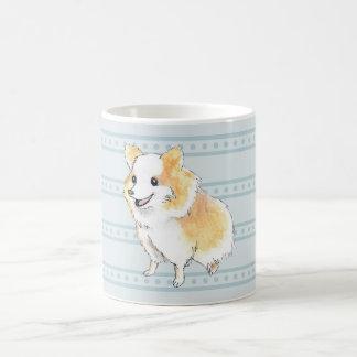 Watercolour que se sienta de Pomeranian en azul Taza