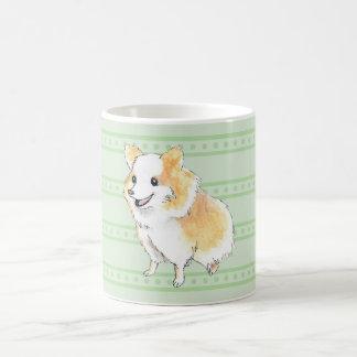 Watercolour que se sienta de Pomeranian en verde Taza Clásica
