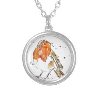 Watercolour Robin Design Silver Plated Necklace