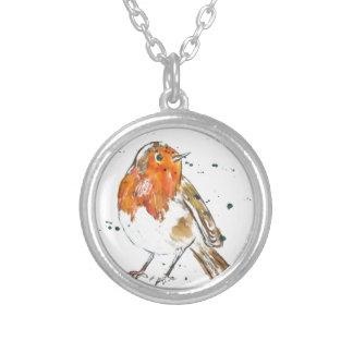Watercolour Robin Design Silver Plated Necklace