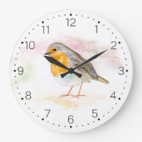Watercolour Robin - Wall Clock With Numbers