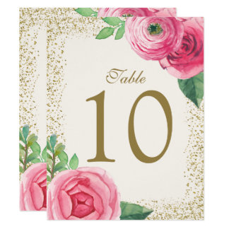 Watercolour Roses Table Number Cards