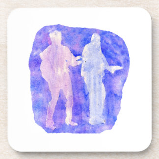 Watercolour sillouttes of two guitar players blue beverage coaster