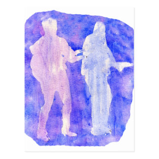 Watercolour sillouttes of two guitar players blue postcard