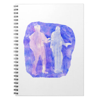 Watercolour sillouttes of two guitar players blue spiral notebook