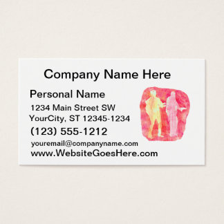 Watercolour sillouttes of two guitar players Pink Business Card