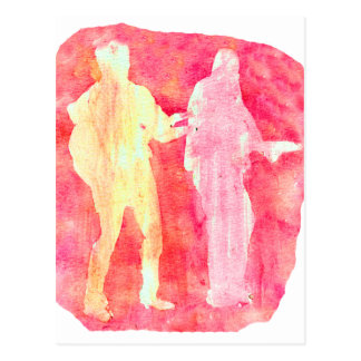 Watercolour sillouttes of two guitar players Pink Postcard