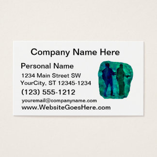 Watercolour sillouttes of two guitar players teal business card