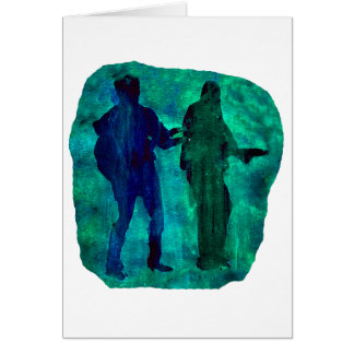 Watercolour sillouttes of two guitar players teal card