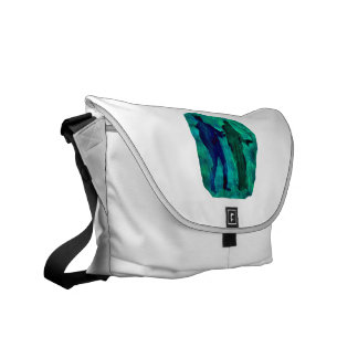 Watercolour sillouttes of two guitar players teal messenger bag