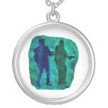 Watercolour sillouttes of two guitar players teal custom jewelry