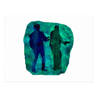 Watercolour sillouttes of two guitar players teal postcard