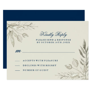 Watercolour Silver and Navy RSVP Card