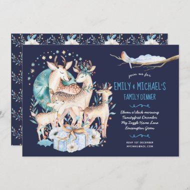 Watercolour STAG DEER FAMILY Event Blue Floral Invitation