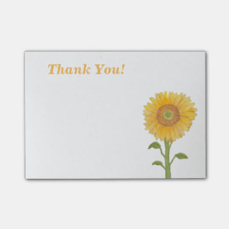 Watercolour Sunflower Thank You Post It Notes