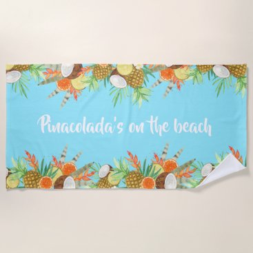 Beach Themed Watercolour Tropical Pinacolada's Beach Towel
