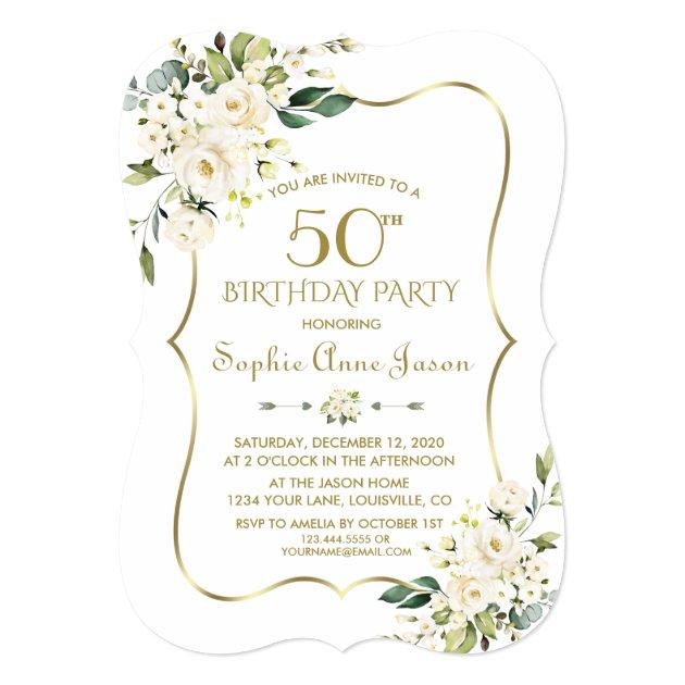 White on White Floral Wedding Invitations 50