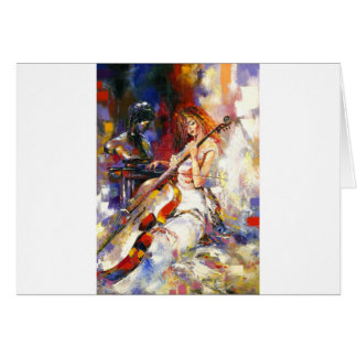 Watercolour Woman Playing Chello Greeting Cards