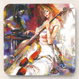 Watercolour Woman Playing Chello Drink Coasters