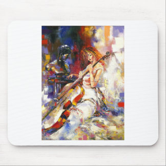 Watercolour Woman Playing Chello Mousemats