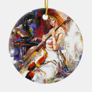 Watercolour Woman Playing Chello Christmas Tree Ornaments