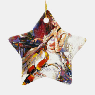 Watercolour Woman Playing Chello Christmas Ornaments