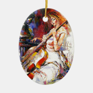 Watercolour Woman Playing Chello Christmas Tree Ornament