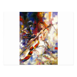 Watercolour Woman Playing Chello Post Cards