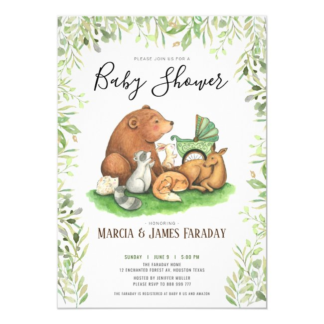 Watercolour woodland forest couples baby shower invitation