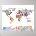 "Watercolour world map abstract art poster<br><div class=""desc"">Fun Laundry poster</div>"