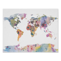 Watercolour world map abstract art poster