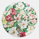 Watercolour y lápiz de las flores pegatina redonda