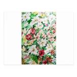 Watercolour y lápiz de las flores postales