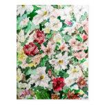 Watercolour y lápiz de las flores tarjetas postales