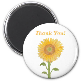 Watercolour Yellow Sunflower Thank You Magnet