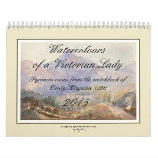 Watercolours de una señora del Victorian Calendarios