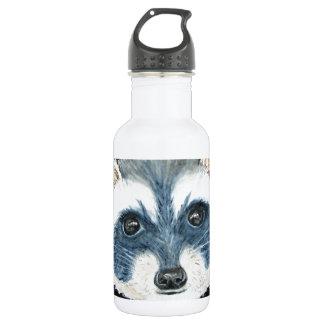 Watercoor por T Ryder, mapache Hideaway.JPG Botella De Agua De Acero Inoxidable