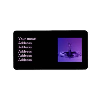 Waterdrop púrpura etiqueta de dirección