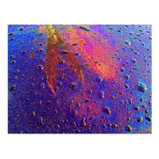 Waterdrops en la capilla del coche tarjetas postales
