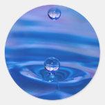 Waterdrops Etiqueta Redonda