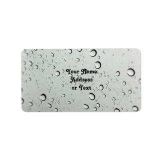 Waterdrops on Glass Background Label