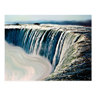 Waterfall acrylic painting postcard