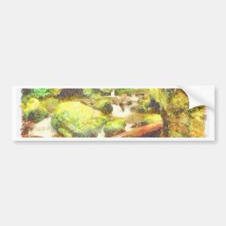 Waterfall and greenery bumper sticker