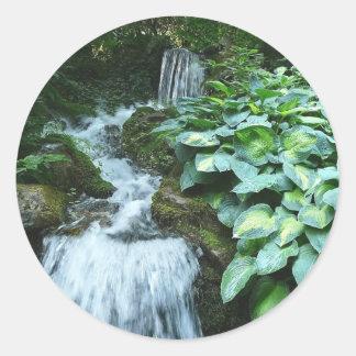 Waterfall and Hostas Classic Round Sticker