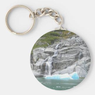 Waterfall and Iceberg Alaska Inside Passage Basic Round Button Keychain
