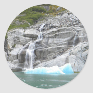 Waterfall and Iceberg Alaska Inside Passage Classic Round Sticker